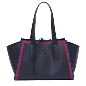 Loeffler Randall leather tote with ribbon trim